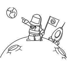 Astronaut Pointing Towards Earth Picture to Color