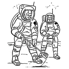 astronauts doing research on moon at work coloring page