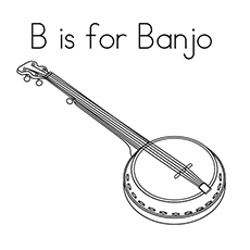 Free Printable B Stands for Banjo Coloring Pages