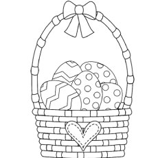 easter basket with a bow - Coloring Pages Easter Baskets
