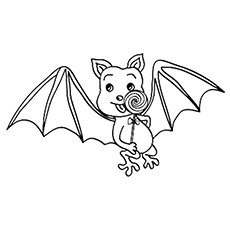 Bat Eating a Lollipop Coloring Sheet to Print