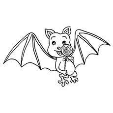 Bat Eating a Lollipop Coloring Sheet to Print