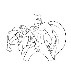 Batman And Robin Batwoman On Top Of Building Picture For Coloring