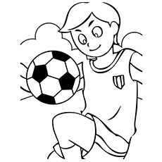 Boy Doing Tricks With The Soccer Ball Coloring Pages