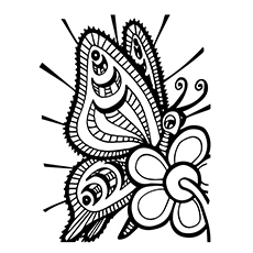 Butterfly Collecting Nectar Coloring Page