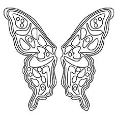Butterfly Pattern Circle With Flowers Coloring Page To Print