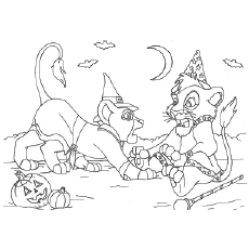 Coloring Sheet of Loin King Character are Celebrating Halloween