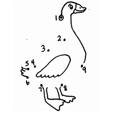 Connect The Dots to Complete the Image of Duck Coloring Pages