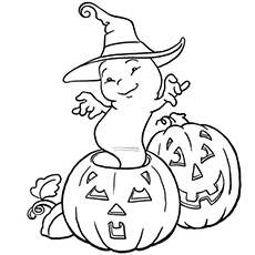 cute ghost raised from halloween pumpkin coloring pages