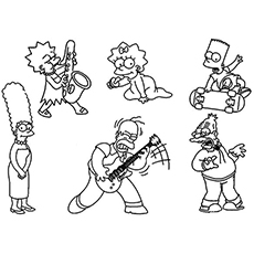 simpsons characters coloring page