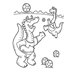 Dinosaurs Playing Football Coloring Pages