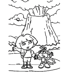 the dora near the volcano - Volcano Coloring Pages