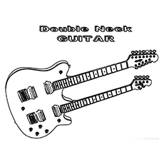 the double neck guitar - Guitar Coloring Pages