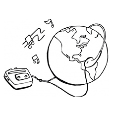 Earth Loves Music Coloring Page