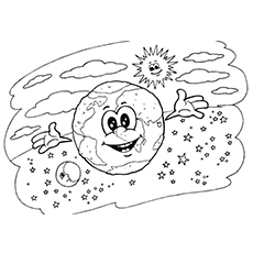 Earth Moon and Sun Coloring Sheet to Print