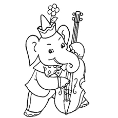 elephant playing cello music girl playing flute colouring pages