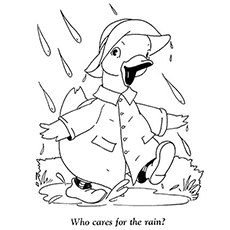 Duck Enjoying the Rain Coloring Pages