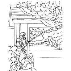 the extinguishing the fire coloring pages - Fire Safety Coloring Pages