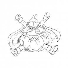 Printable Character of Fat Buu Coloring Page from Dragon Ball Z Series