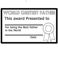 The Fathers Day Certificate coloring images