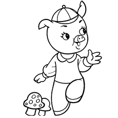 Coloring Page of The Fiddler from Three Little Pigs