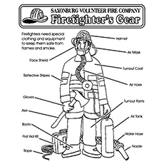 Firefighter's Gear Coloring Pages