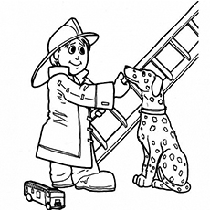 Coloring Pages of Fireman With Dalmatian