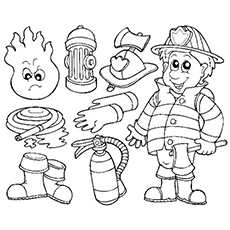 Fireman's Objects Coloring Pages