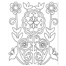 pattern of flower shrub coloring sheet
