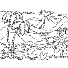 the forest volcano - Volcano Coloring Pages