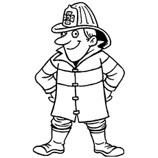 Friendly Fireman Coloring Page for Kids