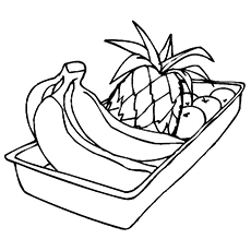 Coloring Pages of Fruit Box With Bunch of Bananas