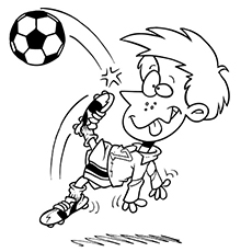 funny boy playing soccer coloring pages