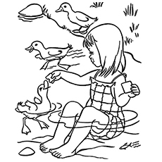 girl feeding the ducks coloring pages