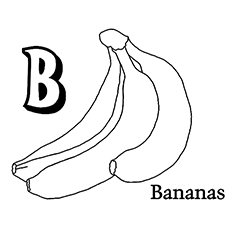 b for banana coloring page