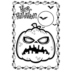coloring pages halloween pumpkin and bats - Cute Halloween Bat Coloring Pages