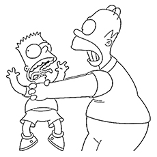 Homer Gets Angry On Bart Coloring Pages