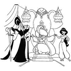the jasmine with jafar coloring - Princess Jasmine Coloring Pages