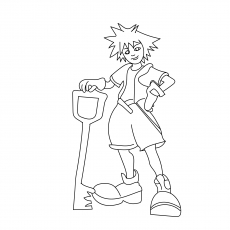 The Kid Sora With His Key Blade