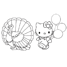 the kitty with turkey to color - Free Thanksgiving Coloring Pages