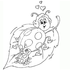 Ladybug With Offspring Coloring Page