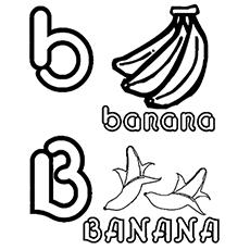 uppercase b and lowercase b letter for banana coloring page to print
