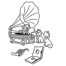 Listening to Gramophone Music Pic Coloring Pages