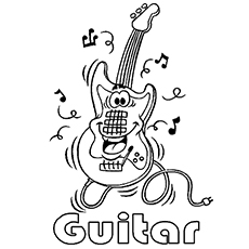 the lively guitar - Music Notes Coloring Pages