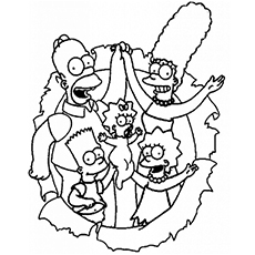 Loving Family Simpsons Coloring Pages