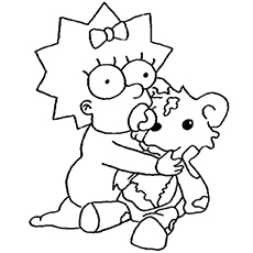 coloring page of maggie with teddy