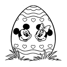 mickey and minnie easter day coloring sheet - Free Easter Coloring Pages