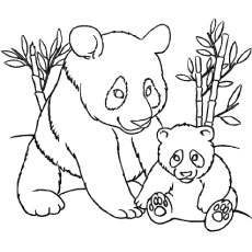 the momma panda with baby panda color to - Printable Colouring