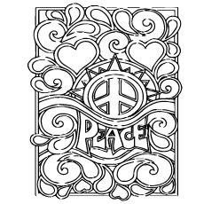 peace poster rainbow peace sign coloring page