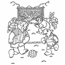 Cartoon Animals Playing Soccer Game Coloring Page to Print